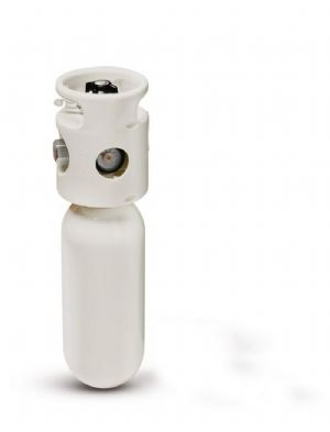 Bombola per ossigenoterapia da 2 lt. con regolatore a scatto, gruppo riduttore e copertura
